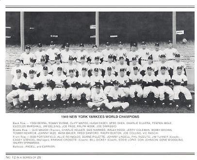 Yankees 1949 World Champions New York Team Photo Daily News with Headlines On Back / Glossy Paperstock Includes Top Load Holder  8X10 Photo