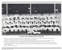 Yankees 1949 World Champions New York Team Photo Daily News with Headlines On Back / Glossy Paperstock Slight Creases 8X10 Photo