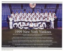 Yankees 1999 New York Team Photo Daily News with Headlines On Back / Glossy Paperstock Slight Creases 8X10 Photo
