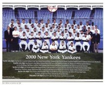 Yankees 2000 New York Team Photo Daily News with Headlines On Back / Glossy Paperstock Slight Creases 8X10 Photo