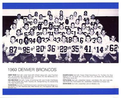 Denver 1960 Broncos Team LIMITED STOCK Slight Corner Crease 8x10 Photo