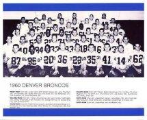 Denver 1960 Broncos Team LIMITED STOCK Slight Corner Crease 8x10 Photo