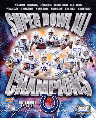 Nick Harper, Joseph Addai, Reggie Wayne, Marvin Harrison, Jeff Saturday, Dallas Clark, Peyton Manning SB 41 Indianapolis Colts SUPER SALE 8X10 Photo
