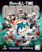 Bob Griese, Dan Marino, Larry Little, Jim Kiick, Larry Csonka, Ricky Williams All Time Greats Miami Dolphins SATIN 8X10 Photo LIMITED STOCK -