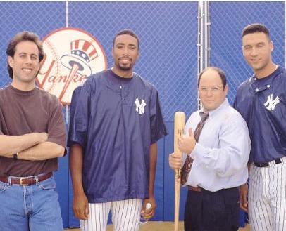 Bernie Williams, Derek Jeter, Jerry Seinfeld & George Costanza / Jason Alexander SUPER SALE Glossy Cardboard Stock New York Yankees 8x10 Photo