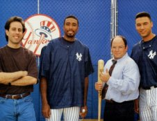 Bernie Williams, Derek Jeter, Jerry Seinfeld & George Costanza / Jason Alexander SUPER SALE Glossy Card Stock New York Yankees 11x14 Photo