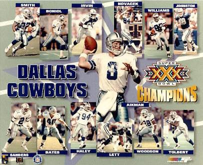 Troy Aikman, Emmitt Smith, Michael Irvin, Deion Sanders, Daryl Johnston LIMITED STOCK Super Bowl Champions Dallas Cowboys 8X10 Photo