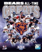 Gale Sayers, Mike Ditka, Jim McMahon, William Perry, Devin Hester, Brian Urlacher,Walter Payton All-Time Greats Bears LIMITED STOCK 8X10 Photo