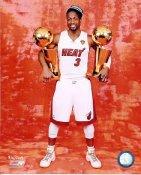 Dwyane Wade w/ 2 NBA Championship Trophies 2012 Miami Heat 8X10 Photo LIMITED STOCK