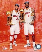 Dwyane Wade & Lebron James w/ 2012 NBA Champs Trophies Miami Heat 8X10 Photo LIMITED STOCK