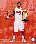 Lebron James w/ 2012 NBA Champs & MVP Trophies Miami Heat 8X10 Photo LIMITED STOCK