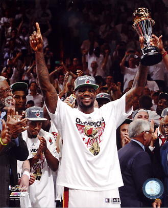Lebron James w/ 2012 MVP Trophy Miami Heat 8X10 Photo LIMITED STOCK