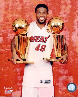 Udonis Haslem w/ 2 Champs Trophies 2012 Miami Heat 8X10 Photo LIMITED STOCK