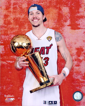Mike Miller w/ 2012 NBA Champs Trophy Miami Heat 8X10 Photo LIMITED STOCK