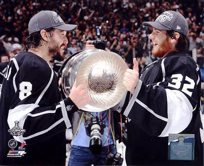 Jonathan Quick & Drew Doughty w/ 2012 Stanley Cup Los Angeles Kings 8x10 Photo