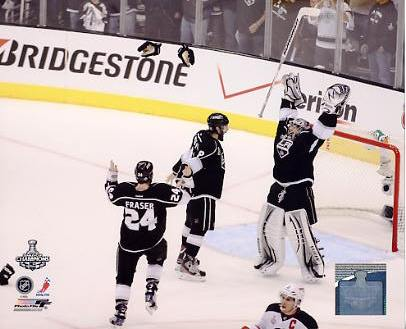 Jonathan Quick, Drew Doughty & Colin Fraser Celebrate Game 6 Stanley Cup Win 2012 Los Angeles Kings 8x10 Photo