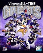 Paul Krause, Chris Carter, Cris Carter, Adrian Peterson, Alan Page, Carl Eller, Fran Tarkenton, Anthony Carter, Jared Allen, Randy Moss & Jim Marshall LIMITED STOCK Minnesota Vikings Greats 8X10 Photo