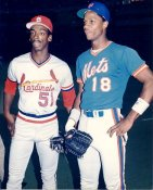 Willie McGee & Darryl Strawberry SUPER SALE Slight Crease St. Louis Cardinals 8X10 Photo