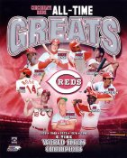 Johnny Bench, Barry Larkin, Frank Robinson, Dave Concepcion, Joe Morgan, Sparky Anderson, Ted Kluszewski, Pete Rose, George Foster, Cincinnati Reds All-Time Greats 8x10 Photo LIMITED STOCK -