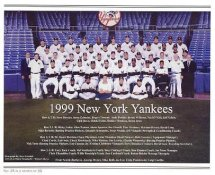 Yankees 1999 World Champions New York Team Photo Daily News with Headlines On Back / Glossy Paperstock Includes Top Load Holder 8X10 Photo