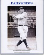 Babe Ruth 1924 New York Yankees Daily News Bill Gallo Cartoon & Stats on Back, Comes in Top Load Holder 8X10 Photo