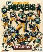 Dorsey Levens, Antonio Freeman, Chris Jacke, Brett Favre, Santana Dotson, Mark Chmura LIMITED STOCK Green Bay Packers Super Bowl Champions 8X10 Photo