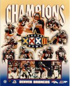 Bill Romanowski, John Elway, Steve Atwater, John Mobley, Shannon Sharpe, Jason Elam, R. Smith Super Bowl 32 LIMITED STOCK Denver Broncos 8X10 Photo