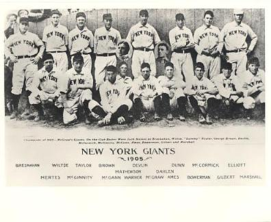 Roger Bresnahan, Wiltse, Taylor, Mertes, McGinnity, Devlin LIMITED STOCK 1905 New York Giants 8x10 Photo