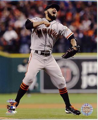 Sergio Romo Celebrates 2012 World Series Win San Fran Giants SATIN 8X10 Photo