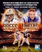 Drew Brees & Johnny Unitas Breaks Unitas Record Throws a TD Pass in 48 Straight Games NO Saints 8X10 Photo