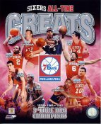 Julius Erving, Allen Iverson, Moses Malone, Wilt Chamberlain, Maurice Cheeks Philadelphia 76ers All Time Greats SATIN 8X10 Photo LIMITED STOCK