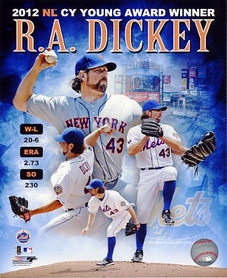 R.A. Dickey 2012 NL CY Young Award Winner New York Mets 8X10 Photo