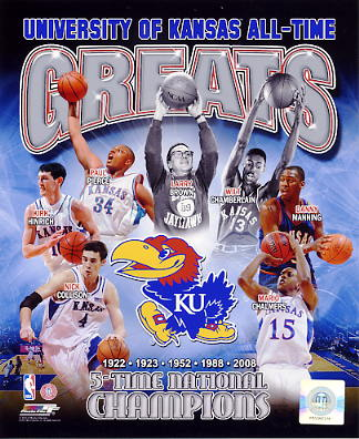 Nick Collison, Larry Brown, Paul Pierce, Mario Chalmers, Wilt Chamberlain, Danny Manning U of Kansas All Time Greats 8X10 Photo LIMITED STOCK -