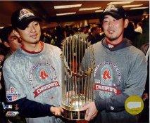 Daisuke Matsuzaka & Hideki Okajima 2007 World Series Champions Trophy LIMITED STOCK Red Sox 8x10 Photo