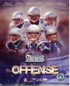 Daniel Graham, David Patten, Corey Dillon, David Givens, Tom Brady, Adam Vinatieri LIMITED STOCK New England Patriots Offense 8X10 Photo