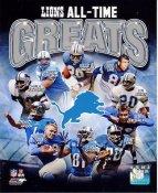 Lem Barney, Barry Sanders, Dick Lane, Calvin Johnson, Chris Spielman Detroit Lions All Time Greats SATIN 8X10 Photo LIMITED STOCK -
