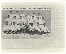 Frank Chance, Johnny Evers,  Joe Tinker, Jack Pfiester, Carl Lundgreen, Mordacai Brown, Harry Steinfeldt, Wildfire Schulte LIMITED STOCK 1907 Cubs National League Champions Vintage Baseball Team Photo 8X10 Photo