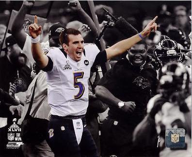 Joe Flacco Celebrates Super Bowl 47 Win Spotlight Baltimore Ravens SATIN 8X10 Photo