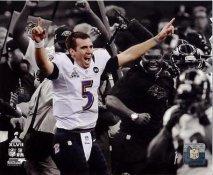 Joe Flacco Celebrates Super Bowl 47 Win Spotlight Baltimore Ravens SATIN 8X10 Photo
