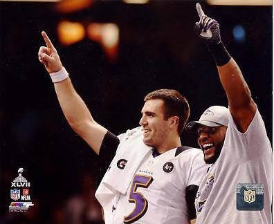 Joe Flacco & Ray Lewis Celebrate Super Bowl 47 Win Baltimore Ravens SATIN 8X10 Photo