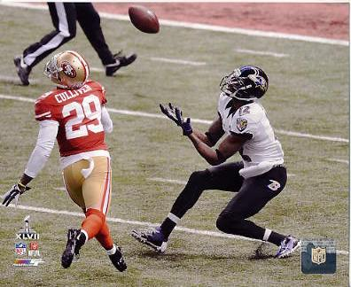 Jacoby Jones Super Bowl 47 Touchdown Catch Baltimore Ravens SATIN 8X10 Photo