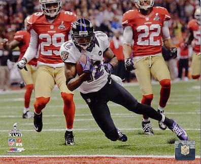 Jacoby Jones Super Bowl 47 Touchdown Baltimore Ravens SATIN 8X10 Photo