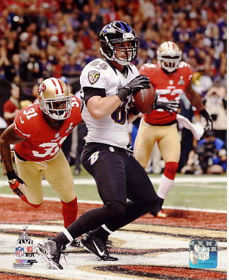Dennis Pitta Super Bowl 47 Touchdown Baltimore Ravens SATIN 8X10 Photo