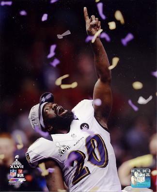 Ed Reed Super Bowl 47 Celebration Baltimore Ravens SATIN 8X10 Photo