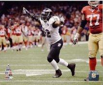 Ray Lewis Super Bowl 47 Celebrates Final Play of Career Baltimore Ravens SATIN 8X10 Photo