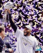 Ray Lewis With Lombardi Trophy Super Bowl 47 Baltimore Ravens SATIN 8X10 Photo