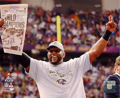 Ray Lewis Super Bowl 47 Celebration Baltimore Ravens SATIN 8X10 Photo