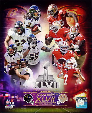 Baltimore Ravens vs San Francisco 49ers Super Bowl 47 Match Up SATIN 8X10 Photo