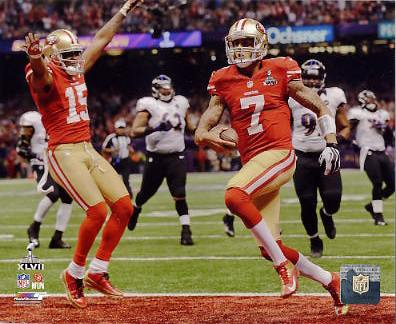 Colin Kaepernick Super Bowl 47 Touchdown San Francisco 49ers SATIN 8X10 Photo