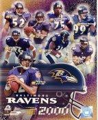 Ray Lewis, Priest Holmes, Michael McCrary, Jonathan Ogden, Rod Woodson, Jamal Lewis, Shannon Sharpe, Tony Banks LIMITED STOCK 2000 Baltimore Ravens 8X10 Photo